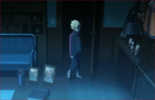 アニメBORUTO53話、ナルトの部屋に入るボルト