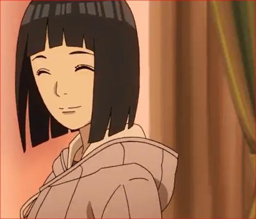 アニメBORUTO53話、ホッと笑顔を浮かべるヒナタ