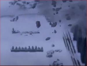 アニメBORUTO54話、崩れ去るカグヤの城の壁