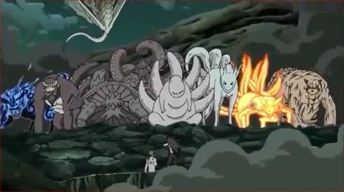 アニメNARUTO、マダラと戦う尾獣たち