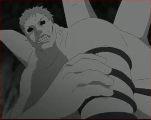 アニメNARUTO52話、ミツキの腕を振りほどこうとあがく白ゼツ