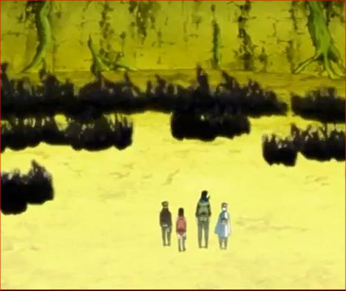 アニメNARUTO52話、天照に焼き尽くされている白ゼツ