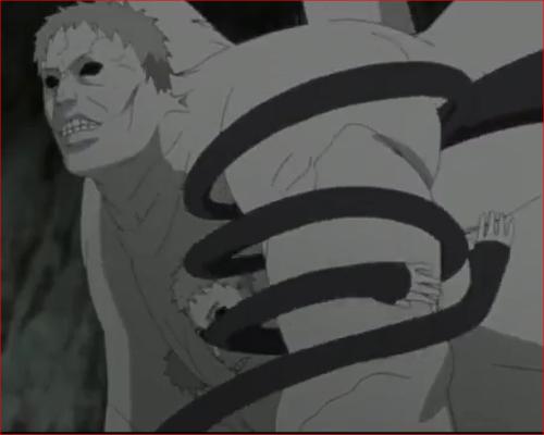 アニメNARUTO52話、白ゼツにミツキの腕が絡む