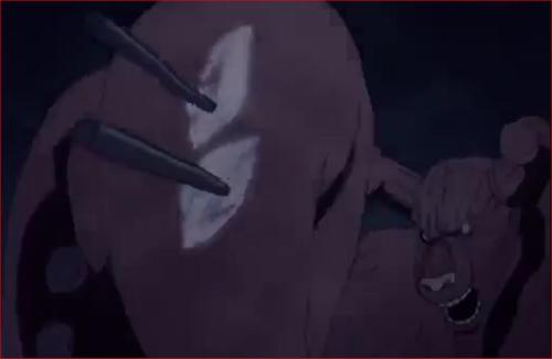 アニメBORUTO55話、モモシキの一撃目を跳ね返す八尾