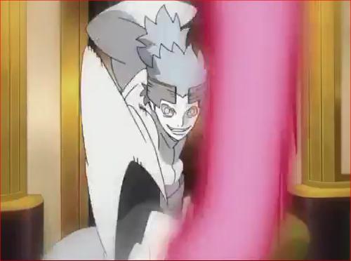 アニメBORUTO57話、チャクラの竿を振り下ろすウラシキ