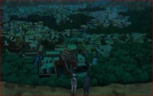 アニメBORUTO57話、木ノ葉の里を見下ろす場所
