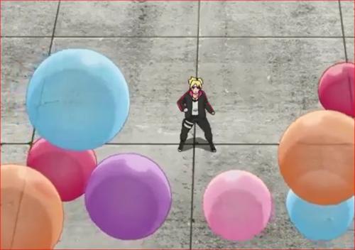 アニメBORUTO58話、ボルトを包囲するユルイの風船爆弾