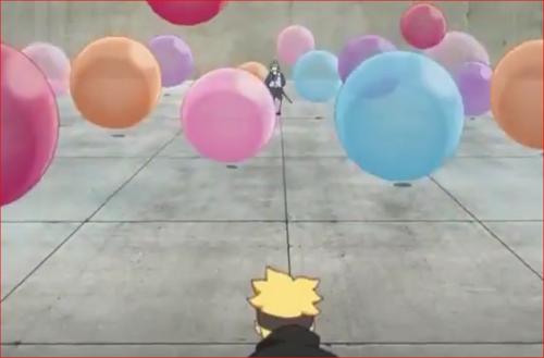 アニメBORUTO58話、ボルトを襲う大量の風船爆弾