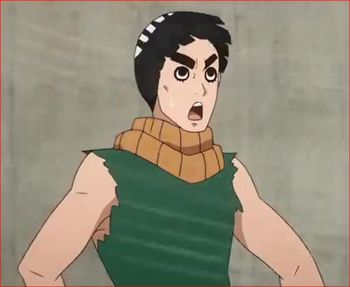 アニメBORUTO58話、爆風で舞い上がるリーの頭髪!