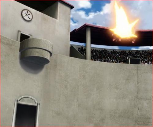 アニメBORUTO60話、サラダの放った雷球は、観客席の屋根を破壊