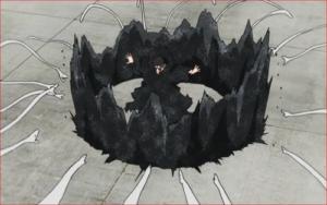 アニメBORUTO60話、ミツキの潜影乱蛇手を砂鉄の壁で防御するシンキ