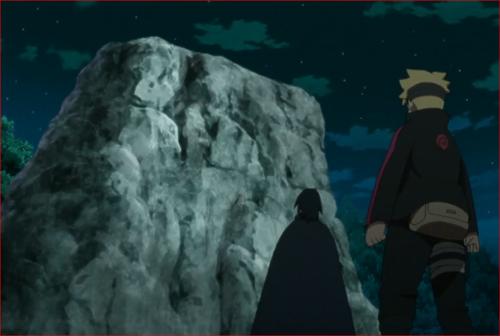 アニメBORUTO60話、岩の前に立つ二人