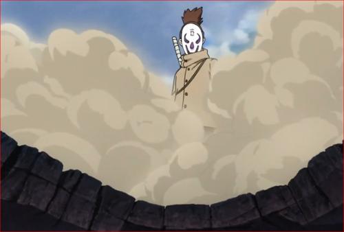 アニメBORUTO60話、破壊された屋根の上に居るアラヤ