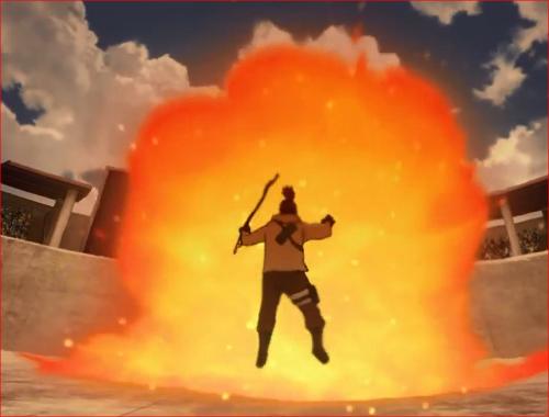 アニメBORUTO60話、豪火球に飛ばされる傀儡