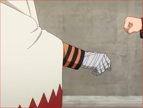 アニメBORUTO61話、すっと上がるナルトの右手
