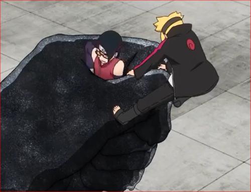 アニメBORUTO61話、サラダの腕を自由にしたボルトの影分身