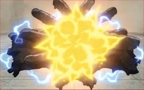 アニメBORUTO61話、サラダの豪火球を防御するた黒鉄の拳