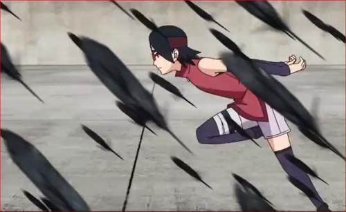 アニメBORUTO61話、写輪眼でシンキの攻撃をかわすサラダ