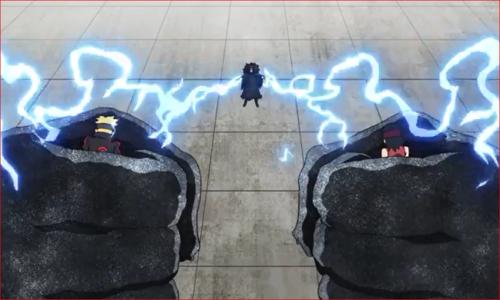 アニメBORUTO61話、返す手で、黒鉄の拳に捕縛される二人