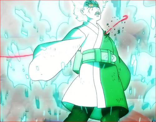 アニメBORUTO62話、ウラシキのチャクラの釣り糸に貫かれるミツキ