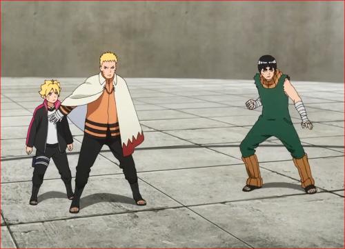 アニメBORUTO62話、ボルトを庇うナルト、ロック・リーも戦闘モードに