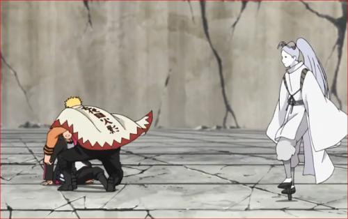 アニメBORUTO62話、ボルトを抱えて間合いを取るナルト