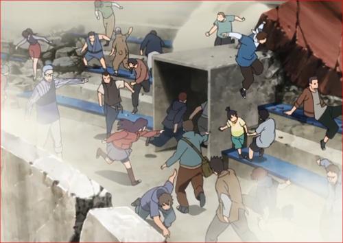 アニメBORUTO62話、人々を出口へ誘導する長十郎