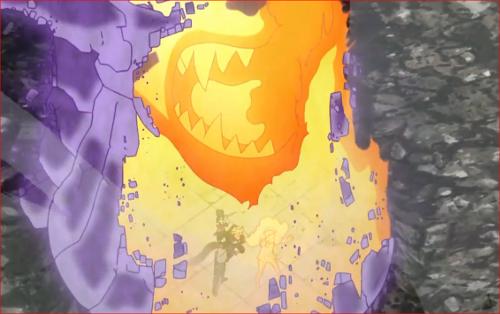 アニメBORUTO62話、凄まじい攻撃に須佐能乎もはがれかけている