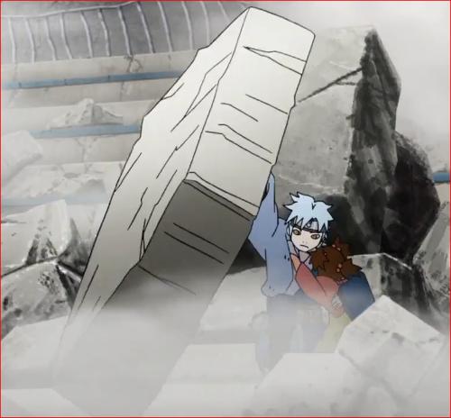アニメBORUTO62話、壁の下敷きになりそうだった少女を助けるミツキ