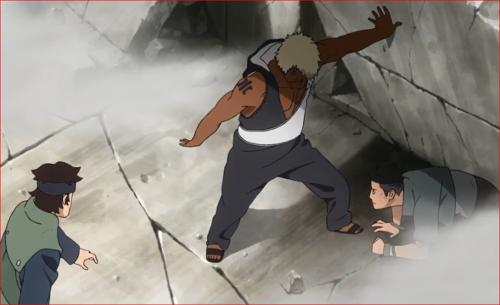 アニメBORUTO62話、崩れかけた壁を支えるダルイ