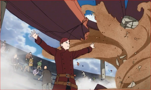 アニメBORUTO62話、崩れ落ちる屋根を砂遁で支える我愛羅
