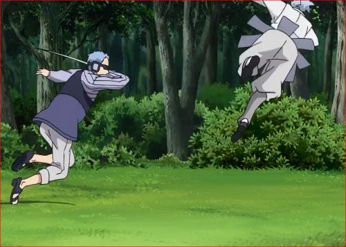 アニメBORUTO62話、着地したウラシキを攻撃する長十郎