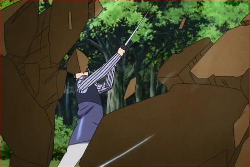 アニメBORUTO62話、砂遁弾を切り裂く長十郎