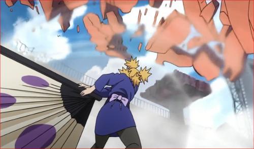 アニメBORUTO62話、粉々になった破片を風遁で吹き飛ばすテマリ