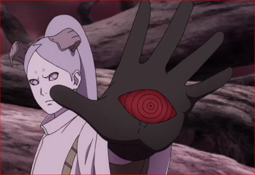 アニメBORUTO64話、キンシキに掌を向けるモモシキ