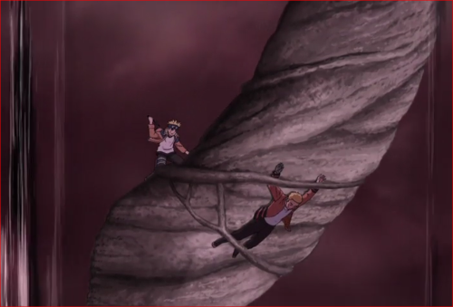 アニメBORUTO64話、落下する気に取りつくボルト