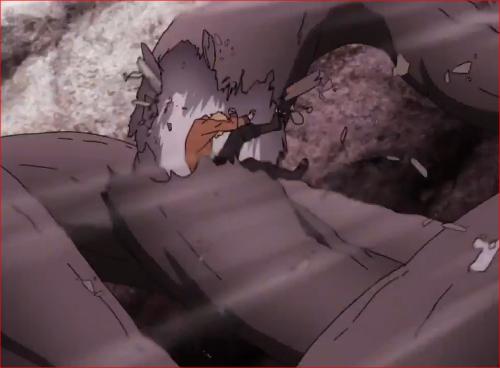 アニメBORUTO65話、ナルトは、モロに木に激突