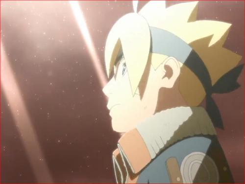 アニメBORUTO65話、モモシキが消滅した空を見上げるボルト