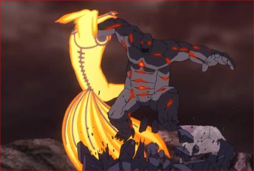 アニメBORUTO65話、九尾・九喇嘛化したナルトを地面にたたきつけるゴーレム