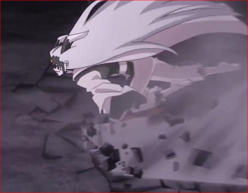 アニメBORUTO65話、二人を地面に撃ち付けながら高速移動するモモシキ