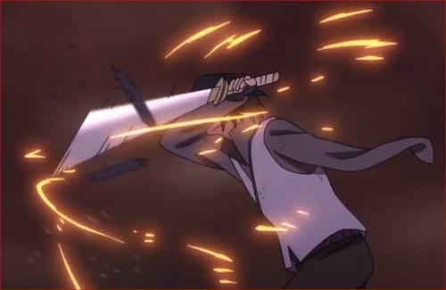 アニメBORUTO65話、写輪眼でモモシキの攻撃を躱しながら攻め込むサスケ