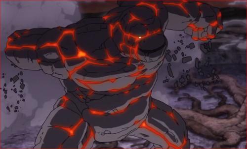 アニメBORUTO65話、左腕で攻撃してくるゴーレム