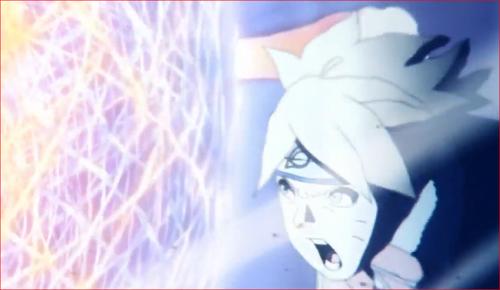 アニメBORUTO65話、渾身の力を込めて螺旋丸を撃ち込むボルト