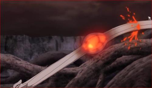 アニメBORUTO65話、溶岩のようなものが流れる