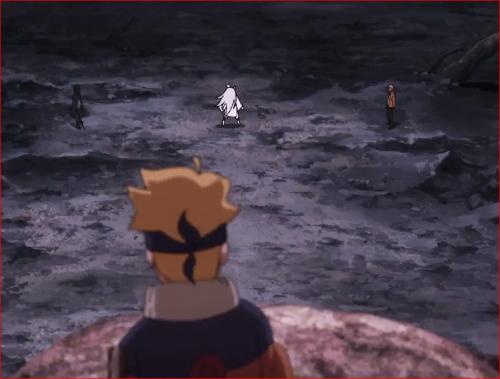 アニメBORUTO65話、父と師匠の戦いを見るボルト