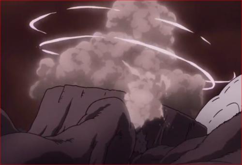 アニメBORUTO65話、神樹の切り株にめり込むモモシキ
