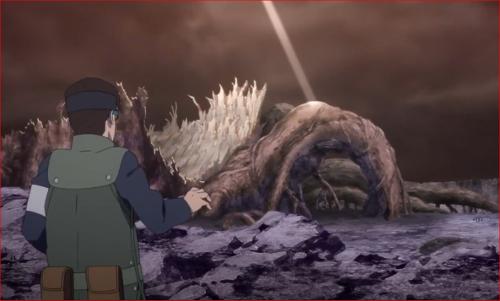 アニメBORUTO65話、螺旋丸で破壊された神樹の切り株を見て愕然とするカタスケ