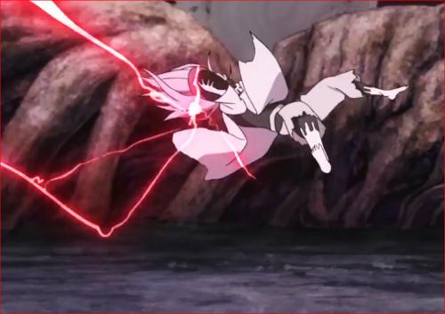 アニメBORUTO65話、蹴り飛ばされ、宙を舞うモモシキ