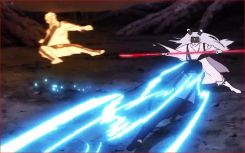アニメBORUTO65話、長刀を手にしたモモシキに攻め込む二人
