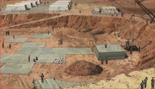 アニメBORUTO66話、大筒木一族に破壊された木ノ葉の里の工事現場